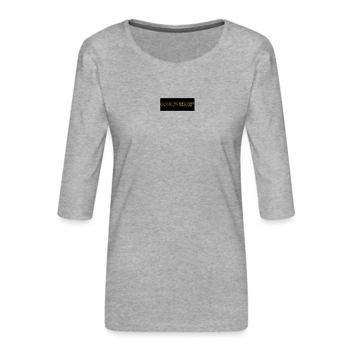 orange writing on black - Women's Premium 3/4-Sleeve T-Shirt