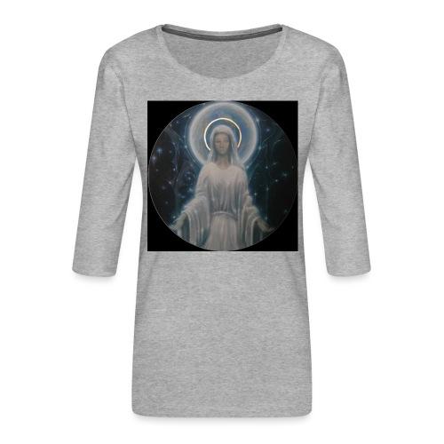 圣母玛利亚 Notre Dame by Jean Libon (Noir) - T-shirt Premium manches 3/4 Femme