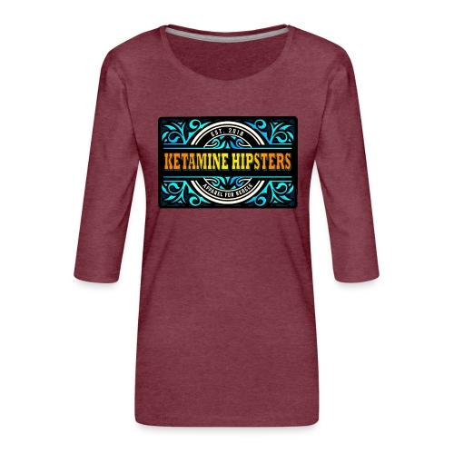 Black Vintage - KETAMINE HIPSTERS Apparel - Women's Premium 3/4-Sleeve T-Shirt