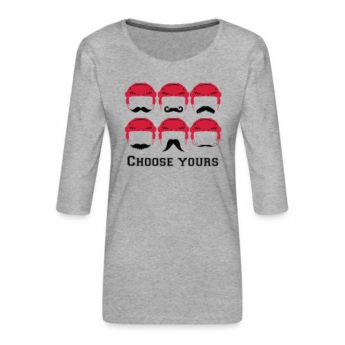 novembre et moustache - T-shirt Premium manches 3/4 Femme