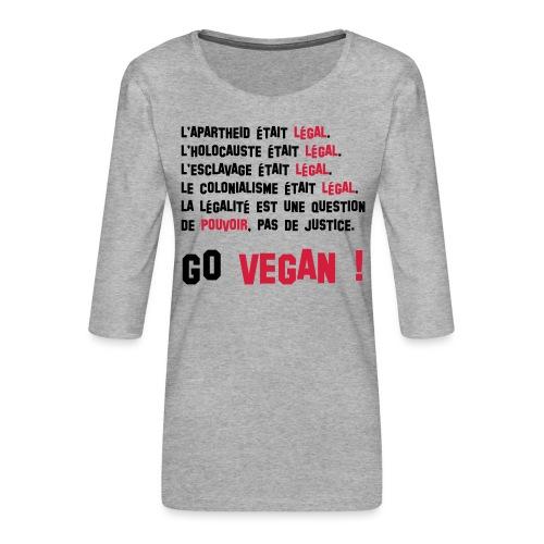GO VEGAN - T-shirt Premium manches 3/4 Femme