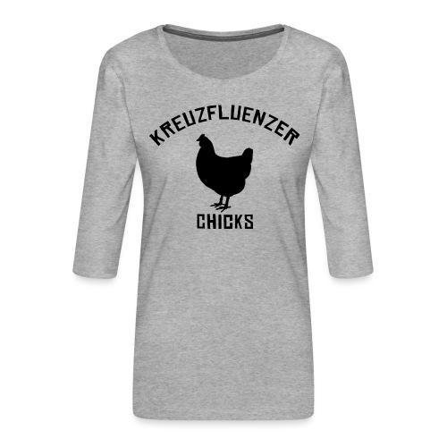 Kreuzfluenzer Chicks BLACK - Frauen Premium 3/4-Arm Shirt