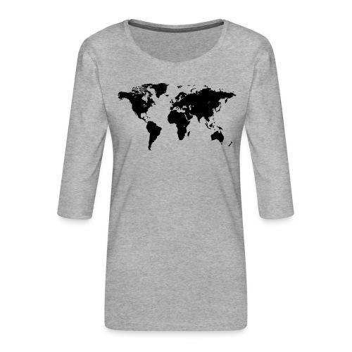 World Map - Frauen Premium 3/4-Arm Shirt
