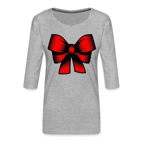 Schleife rot - Frauen Premium 3/4-Arm Shirt