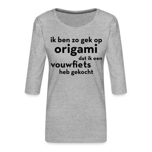 Origami - Vouwfiets - Vrouwen premium shirt 3/4-mouw