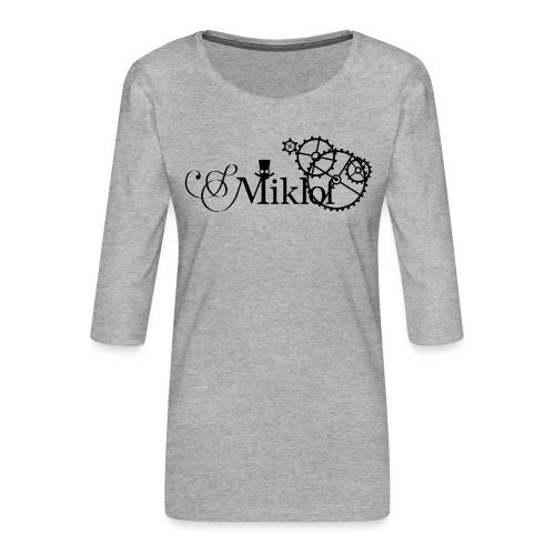 miklof logo black 3000px - Women's Premium 3/4-Sleeve T-Shirt