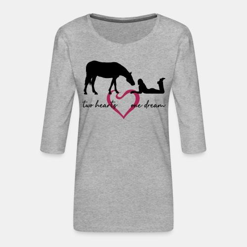two hearts one dream liegendes Mädchen Pferd - Frauen Premium 3/4-Arm Shirt