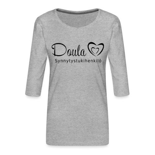 doula sydämet synnytystukihenkilö - Naisten premium 3/4-hihainen paita