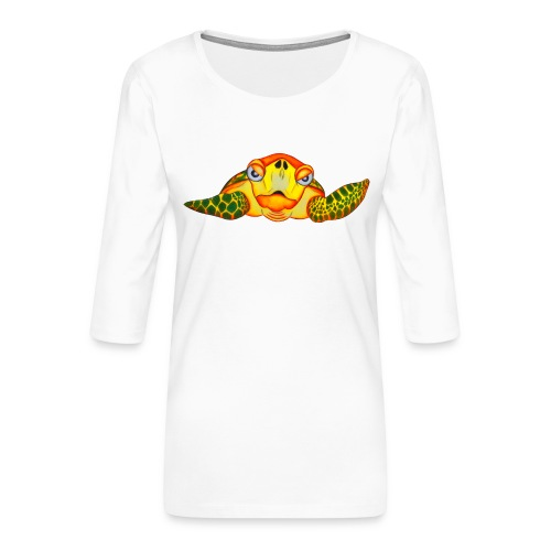 Angry Turtle Fluo - T-shirt Premium manches 3/4 Femme