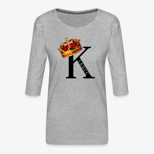 K CON CORONA - Camiseta premium de manga 3/4 para mujer
