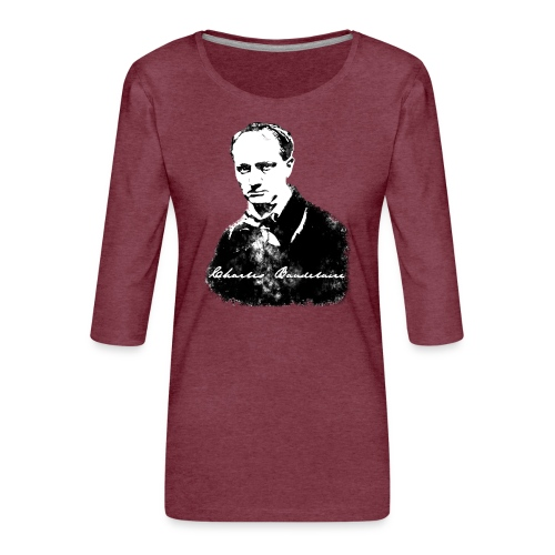 Baudelaire (fond blanc) + signature - T-shirt Premium manches 3/4 Femme