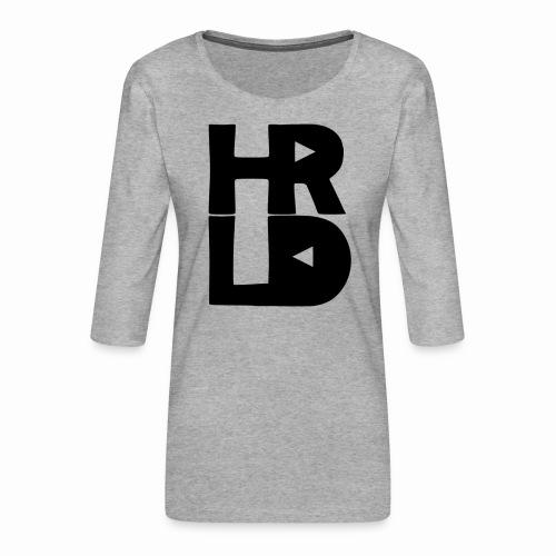 HRLD Black Logo - Naisten premium 3/4-hihainen paita