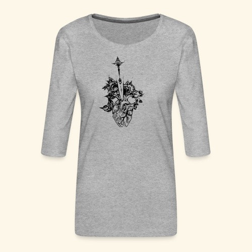 la nature du coeur - T-shirt Premium manches 3/4 Femme