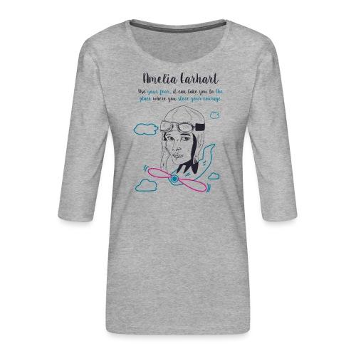 Amelia Earhart - Maglietta da donna premium con manica a 3/4