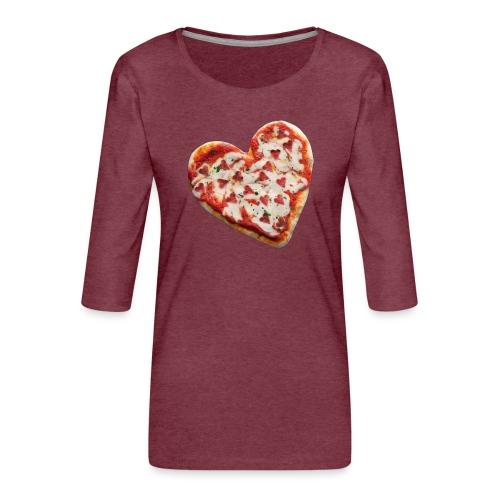 Pizza a cuore - Maglietta da donna premium con manica a 3/4