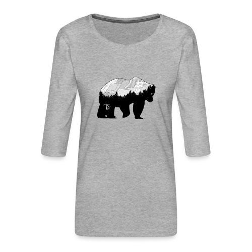 Geometric Mountain Bear - Maglietta da donna premium con manica a 3/4