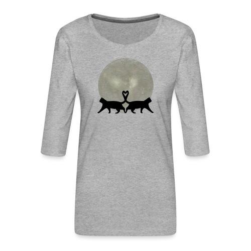 Cats in the moonlight - Vrouwen premium shirt 3/4-mouw