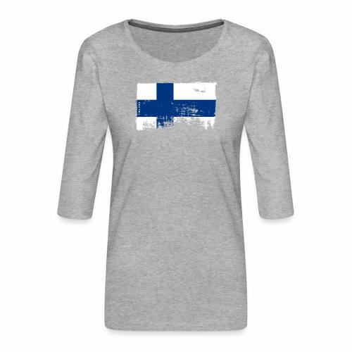 Suomen lippu, Finnish flag T-shirts 151 Products - Naisten premium 3/4-hihainen paita