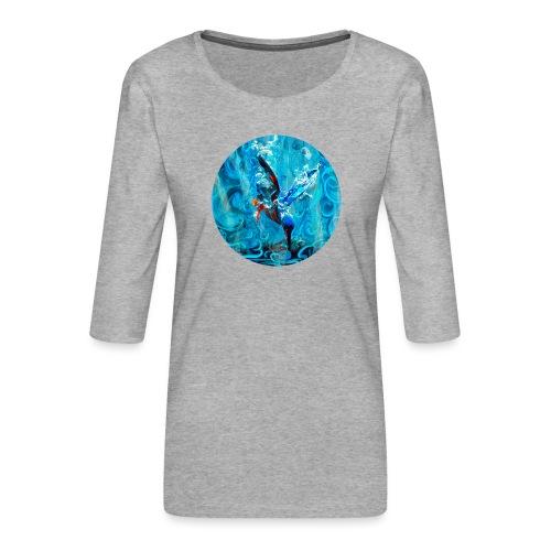 kingfisher dive - fishing - Women's Premium 3/4-Sleeve T-Shirt