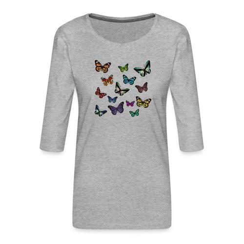 Butterflies flying - Premium-T-shirt med 3/4-ärm dam