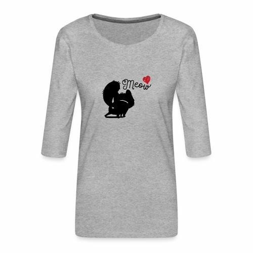 gatto meow - Maglietta da donna premium con manica a 3/4