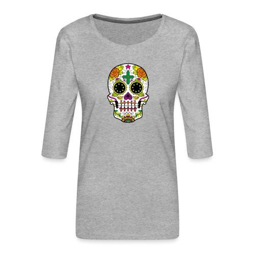 skull4 - Maglietta da donna premium con manica a 3/4