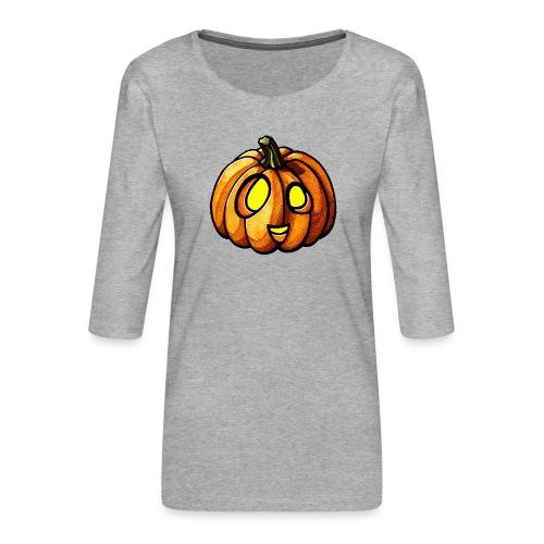 Pumpkin Halloween watercolor scribblesirii - Frauen Premium 3/4-Arm Shirt