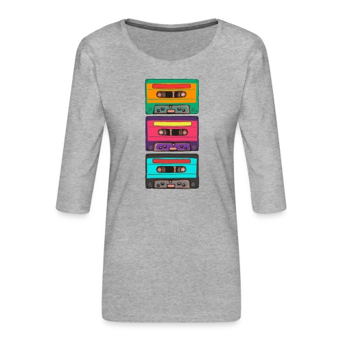 Colorful Cassettes row - Premium-T-shirt med 3/4-ärm dam