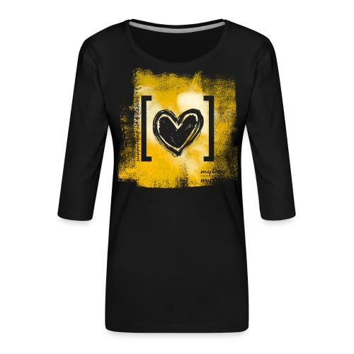 Herz / gelb - Frauen Premium 3/4-Arm Shirt