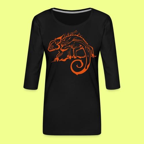 iguana - Camiseta premium de manga 3/4 para mujer
