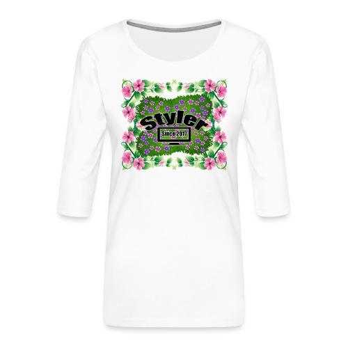 Styler Bloemen Design - Vrouwen premium shirt 3/4-mouw