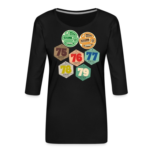 Vignettes automobiles années 70 - T-shirt Premium manches 3/4 Femme