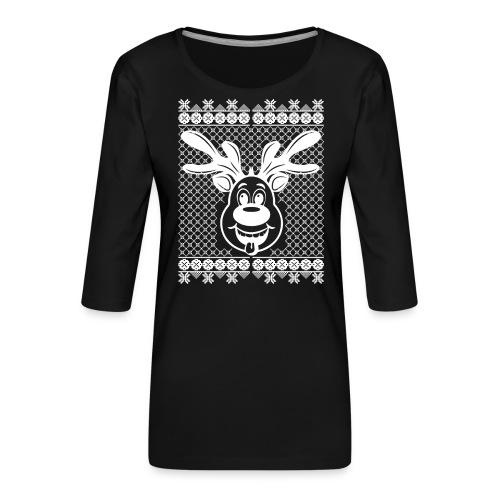 Rudi Reindeers hässliche Weihnachten in weiß - Frauen Premium 3/4-Arm Shirt
