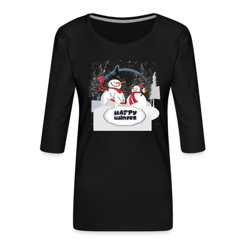 happy winter - T-shirt Premium manches 3/4 Femme