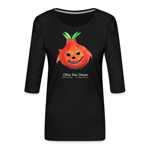mens black T-shirt Ollie the Onion - Women's Premium 3/4-Sleeve T-Shirt