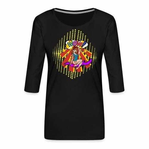 popartcontest - Camiseta premium de manga 3/4 para mujer