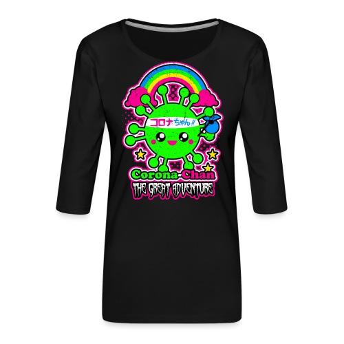 Kawaii Corona-Chan auf Weltreise - Frauen Premium 3/4-Arm Shirt