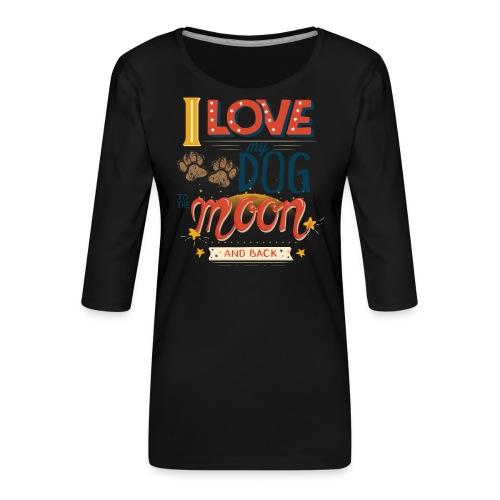 Moon Dog Light - Premium-T-shirt med 3/4-ärm dam