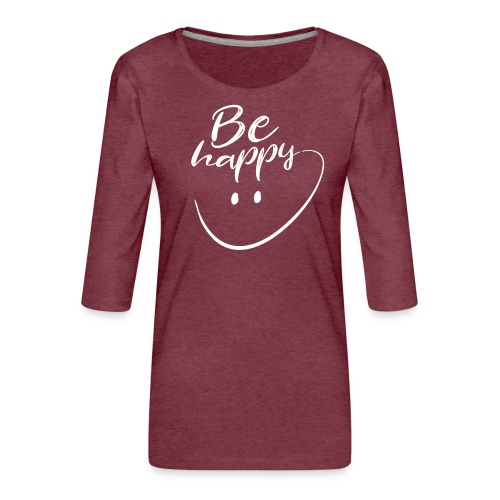 Be Happy With Hand Drawn Smile - Women's Premium 3/4-Sleeve T-Shirt