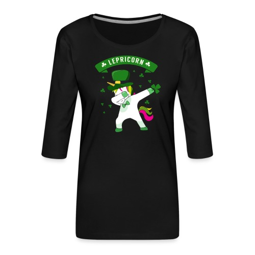 Lepricorn - St. patricks Day Unicorn dab pose - Frauen Premium 3/4-Arm Shirt