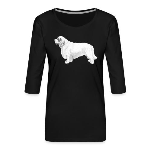 clumber spaniel - Dame Premium shirt med 3/4-ærmer