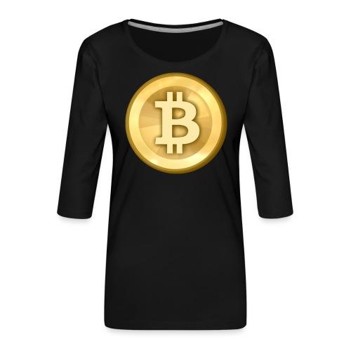 Bitcoin Gold Coin - Women's Premium 3/4-Sleeve T-Shirt