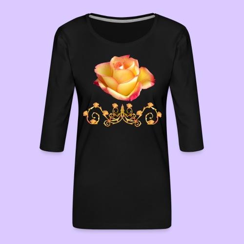 orange Rose, Ornament, Rosen, Blumen, Blüten, edel - Frauen Premium 3/4-Arm Shirt