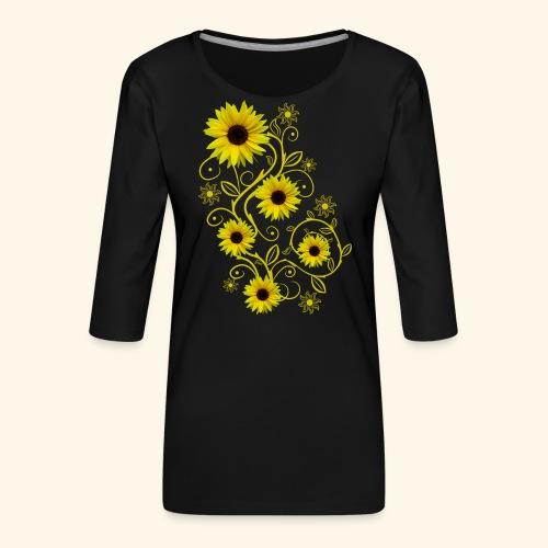 gelbe Sonnenblumen, Ornamente, Sonnenblume, Blumen - Frauen Premium 3/4-Arm Shirt