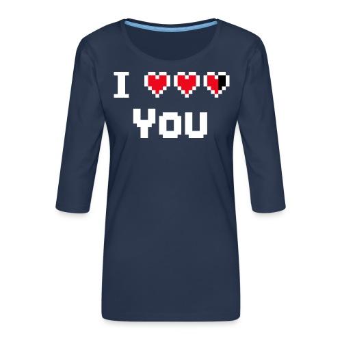 I pixelhearts you - Vrouwen premium shirt 3/4-mouw