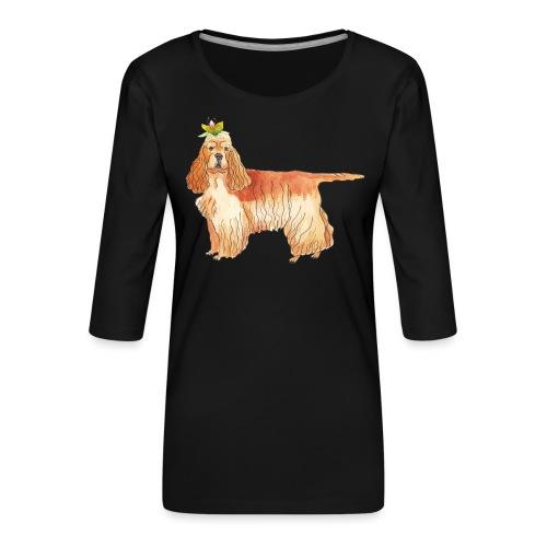 American cocker spaniel with flower - Dame Premium shirt med 3/4-ærmer