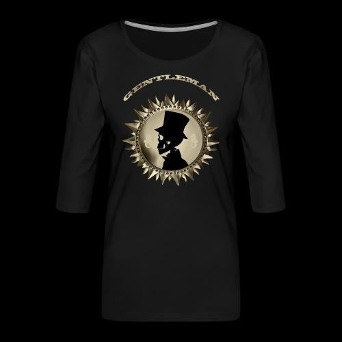 TÊTE DE MORT SILHOUETTE PORTRAIT GENTLEMAN - T-shirt Premium manches 3/4 Femme