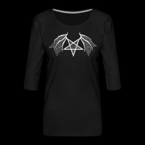 flügelpentagrammitstrukturhellgrau.png - Frauen Premium 3/4-Arm Shirt