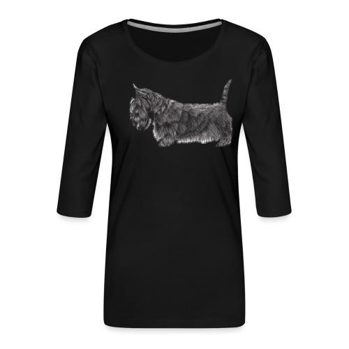 skotsk terrier ub - Dame Premium shirt med 3/4-ærmer