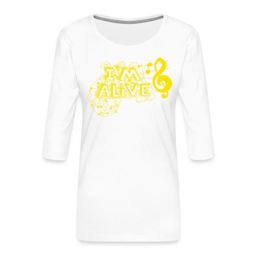 i m alive geel png - Vrouwen premium shirt 3/4-mouw